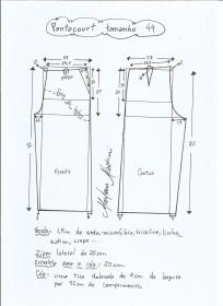 Esquema de modelagem de pantacourt tamanho 44.