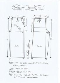 Esquema de modelagem de pantacourt tamanho 48.
