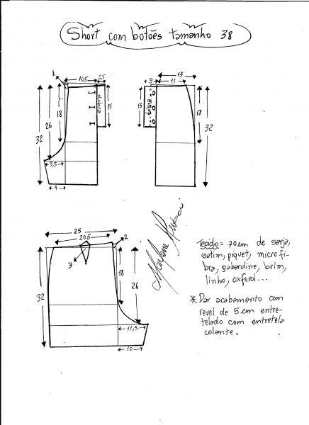 Esquema de modelagem de short com botões na frente tamanho 38.