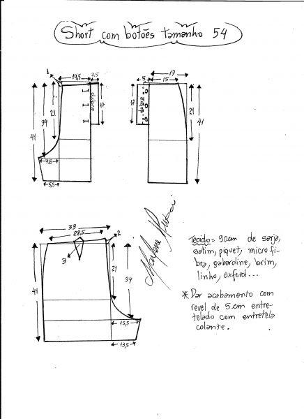 Esquema de modelagem de short com botões na frente tamanho 54.