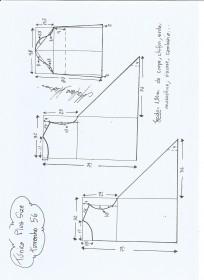 Esquema de modelagem de Túnica Plus Size tamanho 56.
