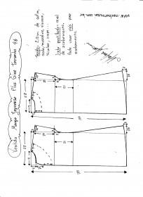Esquema de modelagem de vestido com manga japonesa p-lus size tamanho 46.