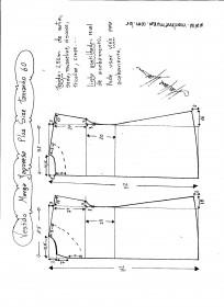 Esquema de modelagem de vestido com manga japonesa p-lus size tamanho 60.