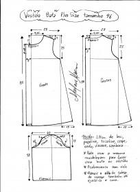 Esquema de modelagem de vestido tipo bata plus size tamanho 46.