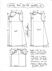 Esquema de modelagem de vestido tipo bata plus size tamanho 52.
