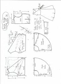 Esquema de modelagem de vestido vintage envelope tamanho 36.