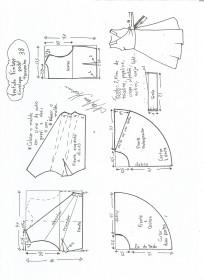 Esquema de modelagem de vestido vintage envelope tamanho 38.