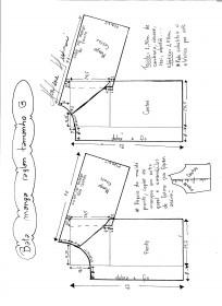 Esquema de modelagem de bata raglan tamanho G.