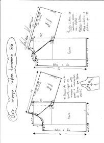 Esquema de modelagem de bata raglan tamanho GG.