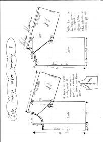 Esquema de modelagem de bata raglan tamanho P.