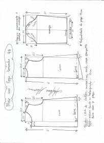 Esquema de modelagem de blusa com prega e manga tamanho 40.