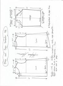 Esquema de modelagem de blusa com prega e manga tamanho 44.