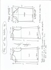 Esquema de modelagem de blusa com prega e manga tamanho 46.