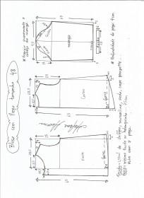 Esquema de modelagem de blusa com prega e manga tamanho 48.