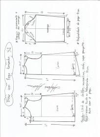 Esquema de modelagem de blusa com prega e manga tamanho 52.