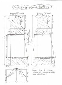 Esquema de modelagem de vestido vintage com babado tamanho 38.