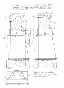 Esquema de modelagem de vestido vintage com babado tamanho 50.
