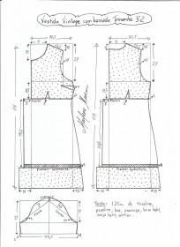 Esquema de modelagem de vestido vintage com babado tamanho 52.