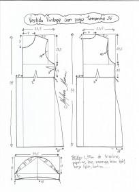 Esquema de modelagem de vestido vintage com prega tamanho 36.