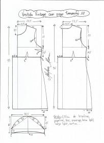 Esquema de modelagem de vestido vintage com prega tamanho 38.