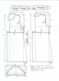 Esquema de modelagem de vestido vintage com prega tamanho 40.