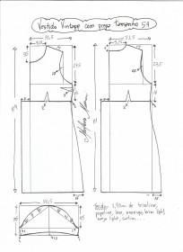 Esquema de modelagem de vestido vintage com prega tamanho 54.