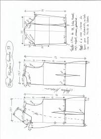 Esquema de modelagem de blazer alfaiataria gola de bico tamanho 38.