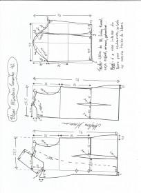 Esquema de modelagem de blazer alfaiataria gola de bico tamanho 42.
