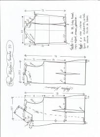 Esquema de modelagem de blazer alfaiataria gola de bico tamanho 50.