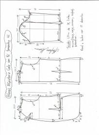 Esquema de modelagem de blazer alfaiataria com gola em pé tamanho 42.