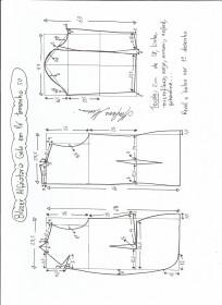 Esquema de modelagem de blazer alfaiataria com gola em pé tamanho 50.