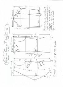 Esquema de modelagem de blazer com lapela tamanho 36.