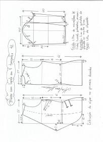 Esquema de modelagem de blazer com lapela tamanho 42.