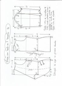 Esquema de modelagem de blazer com lapela tamanho 46.
