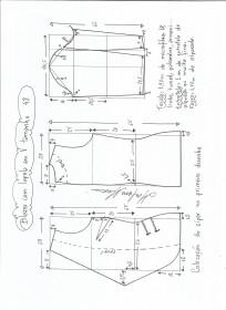 Esquema de modelagem de blazer com lapela tamanho 48.