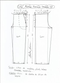 Esquema de modelagem de calça de moletom feminina tamanho 48.