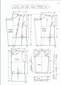 Esquema de modelagem de jaqueta com zíper e transpasse tamanho 44.