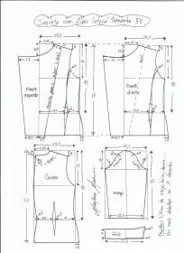 Esquema de modelagem de jaqueta com zíper e transpasse tamanho 50.