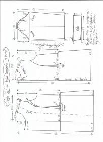 Esquema de modelagem de trench coat tamanho M.