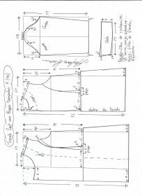 Esquema de modelagem de trench coat tamanho P.