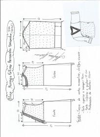 Esquema de modelagem de blusa morcego  Fátima Bernardes tamanho EGG.