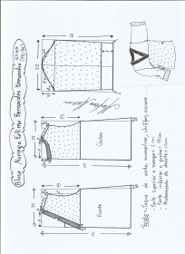 Esquema de modelagem de blusa morcego  Fátima Bernardes tamanho EXGG.