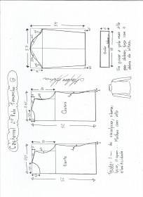 Esquema de modelagem de Blusa cacharrel segunda pele de malha tamanho G.