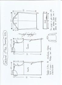 Esquema de modelagem de Blusa cacharrel segunda pele de malha tamanho GG.