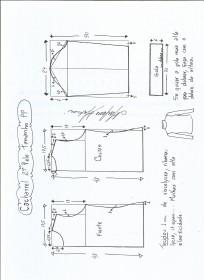 Esquema de modelagem de Blusa cacharrel segunda pele de malha tamanho PP.