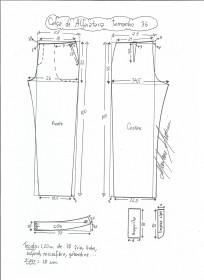 Esquema de modelagem de calça alfaiataria tamanho 36