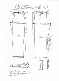 Esquema de modelagem de calça alfaiataria tamanho 56.