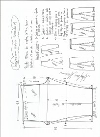 Esquema de modelagem de legging sem costura lateral M.