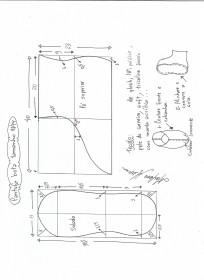 Esquema de modelagem de pantufas  slippers tamanho 43/44.