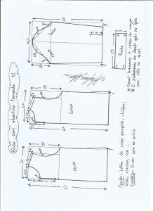 Esquema de modelagem de blusa com abertura na frente e costas tamanho 42.